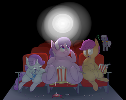 Size: 1280x1016   Tagged: safe, artist:secretgoombaman12345, apple bloom, diamond tiara, scootaloo, silver spoon, sweetie belle, earth pony, pegasus, pony, unicorn, ask chubby diamond, applebuse, butt crush, chubby diamond, crying, cutie mark crusaders, faceful of ass, facesitting, fat, flattened, impossibly large butt, plot, theater