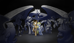 Size: 2587x1526 | Tagged: safe, artist:underpable, derpy hooves, doctor whooves, princess celestia, queen chrysalis, time turner, zecora, earth pony, griffon, pegasus, pony, zebra, antagonist, crossover, doctor who, fangs, female, floppy ears, frown, mare, ponified, raised hoof, scared, sharp teeth, spread wings, statue, the doctor, weeping angel, wide eyes