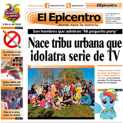 Size: 1176x1178 | Tagged: safe, rainbow dash, article, brony, chile, clothes, cosplay, costume, el epicentro, newspaper, spanish