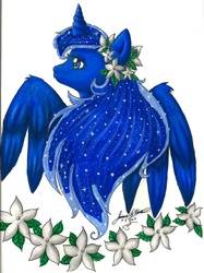 Size: 600x804 | Tagged: artist:gina-su, flower, jasmines, princess luna, safe, solo, traditional art