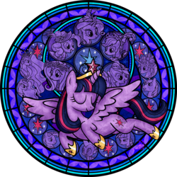 Size: 3000x3000 | Tagged: alicorn, applejack, artist:akili-amethyst, dive to the heart, female, fluttershy, kingdom hearts, mane seven, mane six, mare, night light, pinkie pie, pony, princess cadance, princess celestia, princess luna, rainbow dash, rarity, safe, shining armor, spike, stained glass, twilight sparkle, twilight sparkle (alicorn), twilight velvet