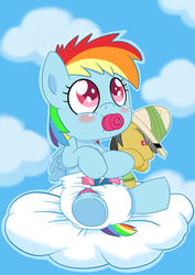 Size: 883x1248 | Tagged: safe, artist:artiecanvas, daring do, rainbow dash, pegasus, pony, baby, baby dash, baby pony, blushing, cloud, cloudy, cutie mark diapers, diaper, female, filly, foal, pacifier, plushie, poofy diaper, sky, solo