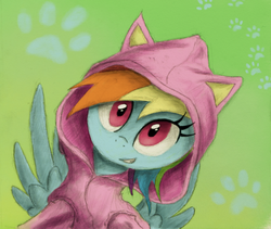 Size: 800x676 | Tagged: safe, artist:hewison, rainbow dash, pegasus, pony, cat ears, cat hoodie, clothes, cute, dashabetes, female, green background, hoodie, mare, paw prints, simple background, smiling, solo