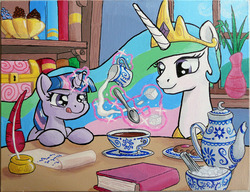 Size: 1200x920 | Tagged: safe, artist:muffinshire, princess celestia, twilight sparkle, alicorn, pony, unicorn, acrylic painting, book, concentrating, cute, cutelestia, featured image, filly, glowing horn, inkwell, magic, milk, momlestia fuel, muffinshire is trying to murder us, painting, quill, scroll, sugarcube, sweet dreams fuel, tea, teacup, teapot, telekinesis, tongue out, traditional art, twiabetes