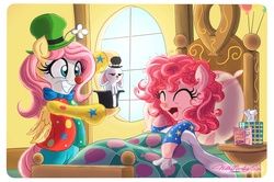 Size: 2571x1710   Tagged: safe, artist:walliscolours, angel bunny, fluttershy, pinkie pie, pony, bed, bed mane, bipedal, blanket, card, caring for the sick, clothes, clown, clown makeup, clown nose, clown outfit, cold, costume, cute, eyes closed, flutterclown, friendshipping, get well card, get well soon, grin, happy, hat, hilarious in hindsight, hoof hold, laughing, messy mane, open mouth, pajamas, shyabetes, sick, smiling, squee, tissue, tissue box, unamused, window