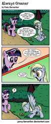 Size: 860x2080   Tagged: safe, artist:pony-berserker, derpy hooves, twilight sparkle, pegasus, pony, unicorn, comic:always greener, 2013, artrage, asking, bush, chomp, chomping, comforting, comic, confused, crying, cute, dialogue, digital art, dirty, duo, duo female, eating, english, female, food, forest, frown, giving advice, grass, grazing, happy, horses doing horse things, humor, inkscape, mare, misunderstanding, muffin, nom, onomatopoeia, open mouth, outdoors, question mark, raised leg, realising, relieved, remake, sad, simple background, sitting, spread wings, standing, style emulation, suggesting, talking, teary eyes, tree, wat, wings