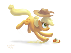 Size: 1920x1440 | Tagged: safe, artist:kaermter, applejack, earth pony, pony, action pose, apple, cowboy hat, cutie mark, female, hat, hooves, lineless, mare, simple background, slipping, solo, transparent background