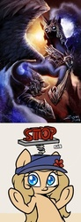 Size: 549x1498 | Tagged: safe, artist:ziom05, nightmare moon, oc, oc:backy, nightmare dupe, photoshop, stop
