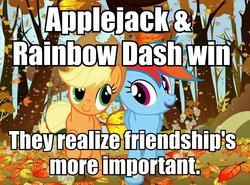 Size: 944x698 | Tagged: safe, edit, edited screencap, screencap, applejack, rainbow dash, fall weather friends, autumn, cropped, fixed, friendship, game grumps, image macro, running, running of the leaves