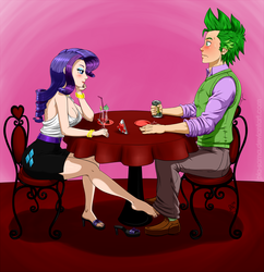 Size: 1200x1241 | Tagged: safe, artist:pia-sama, rarity, spike, barefoot, breasts, busty rarity, cleavage, clothes, feet, female, footsie, foreplay, high heels, humanized, male, nail polish, older, sandals, shipping, skirt, sparity, straight, table, tube skirt, under the table