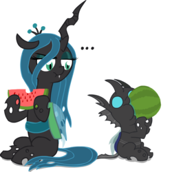 Size: 850x849 | Tagged: safe, artist:mrponiator, queen chrysalis, changeling, changeling queen, nymph, ..., :t, changeling loves watermelon, cute, cutealis, cuteling, disapproval, drool, duo, eating, fangs, female, food, fruit, hoof hold, male, mommy chrissy, nom, raised eyebrow, silly changeling, simple background, sitting, sweet dreams fuel, transparent background, watermelon, wide eyes