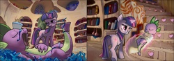 Size: 1280x450 | Tagged: safe, artist:tswt, spike, twilight sparkle, dragon, pony, unicorn, blanket, feels in the comments, female, golden oaks library, heartwarming, levitation, magic, magic aura, male, mama twilight, mare, sleeping, spikelove, stairs, telekinesis