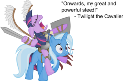 Size: 4867x3216   Tagged: dead source, safe, artist:jittery-the-dragon, trixie, twilight sparkle, pony, unicorn, armor, cavalier, duo, eyes closed, fake wings, fantasy class, female, floppy ears, frown, great and powerful, high res, hussar, knight, mare, open mouth, pathfinder, poland, ponies riding ponies, riding, shield, simple background, sword, text, transparent background, unicorn twilight, warrior, warrior twilight sparkle, weapon, wide eyes, winged hussar
