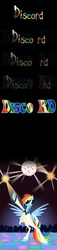 Size: 1459x6383 | Tagged: safe, artist:grievousfan, discord, rainbow dash, pegasus, pony, bipedal, clothes, comic, dancing, disco, disco ball, disco dance, disco rd, female, john travolta, mare, rainbow dash always dresses in style, saturday night fever, suit, sunglasses