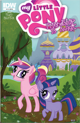 Size: 568x869 | Tagged: blank flank, canterlot, comic cover, idw, princess cadance, safe, twilight sparkle