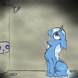 Size: 850x850 | Tagged: safe, artist:ichibangravity, trixie, pony, unicorn, chest fluff, drinking, female, floppy ears, fluffy, looking up, mare, open mouth, shower, sitting, solo, unshorn fetlocks, water, wet, wet mane, wharrgarbl