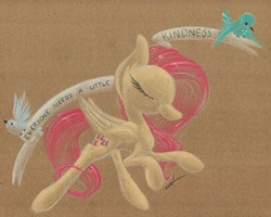 Size: 1024x820 | Tagged: safe, artist:getchanoodlewet, fluttershy, bird, motivational, old banner, positive ponies, solo, text, traditional art
