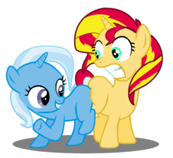Size: 1018x934 | Tagged: safe, artist:jcking101, edit, sunset shimmer, trixie, pony, butt bump, butt to butt, butt touch, female, filly, filly sunset, filly trixie, lesbian, shipping, suntrix