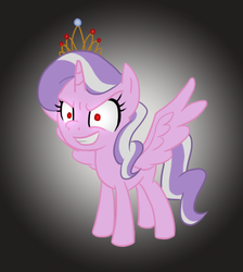 Size: 564x630 | Tagged: alicorn, alicornified, artist:howlsinthedistance, diamond tiara, evil grin, pony, race swap, red eyes, safe, solo, this will end in tears, tiaracorn, xk-class end-of-the-world scenario