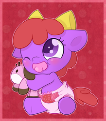 Size: 872x1000 | Tagged: safe, artist:cuddlehooves, oc, oc only, oc:itty bit, pony, baby, baby pony, cute, diaper, foal, poofy diaper, solo