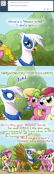 Size: 640x2063   Tagged: safe, artist:giantmosquito, daisy, flower wishes, fluttershy, gilda, lily, lily valley, roseluck, earth pony, griffon, pony, ask, ask-dr-adorable, captain clamor, dr adorable, female, flower trio, mare, tumblr