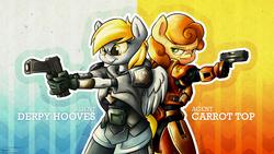 Size: 3840x2160   Tagged: safe, artist:tenart, carrot top, derpy hooves, golden harvest, anthro, armor, glock, gun, pistol