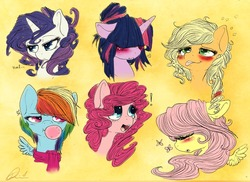 Size: 1280x934 | Tagged: dead source, source needed, safe, artist:dimwitdog, applejack, fluttershy, pinkie pie, rainbow dash, rarity, twilight sparkle, butterfly, pony, :o, :p, :t, alternate hairstyle, angry, bangs, bedroom eyes, blushing, bubble, bubblegum, bust, clothes, covering eyes, cute, drunk, drunk aj, embarrassed, exclamation point, expressions, eyes closed, floppy ears, frown, hair over eyes, hair over one eye, heart, hidden eyes, hilarious in hindsight, hmf..., long mane, loose hair, mane six, open mouth, portrait, scarf, shy, silly, silly pony, smiling, spread wings, surprised, teeth, tongue out, unamused, weapons-grade cute, who's a silly pony, wide eyes