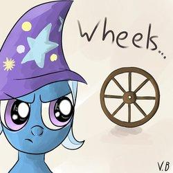 Size: 894x894 | Tagged: artist needed, safe, trixie, pony, unicorn, female, mare, solo, upset, wheel, wheels trixie