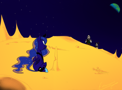 Size: 1763x1295 | Tagged: safe, artist:extremeasaur5000, princess luna, cheese, crossover, eating, edible heavenly object, gromit, moon, wallace, wallace and gromit