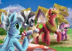 Size: 5567x3981   Tagged: safe, artist:owlvortex, big macintosh, cheerilee, fleetfoot, zecora, earth pony, pony, zebra, big macintosh gets all the mares, cheerimac, fleetmac, macora, male, sandwich, shipping, spike's custom pony figures, stallion, straight