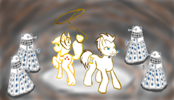 Size: 1322x762 | Tagged: applejack, applewhooves, artist:grim-tales, dalek, doctor who, doctor whooves, female, male, safe, shipping, straight, time turner