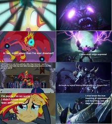 Size: 1271x1407 | Tagged: safe, sunset shimmer, equestria girls, beast hunters, clash of hasbro's titans, comparison, megatron, predacons rising, rivalry, sunsad shimmer, sunset satan, transformers, transformers prime, unicron