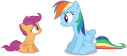 Size: 6820x3000 | Tagged: absurd res, .ai available, artist:masterrottweiler, rainbow dash, safe, scootaloo, simple background, transparent background, vector