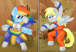 Size: 3164x2200 | Tagged: artist:blackbewhite2k7, bipedal, crossover, derpy hooves, dragon ball z, fighting stance, goku, parody, pony, rainbow dash, safe, vegeta