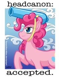 Size: 553x720 | Tagged: safe, artist:texasuberalles, pinkie pie, earth pony, pony, cannon, canon, female, headcannon, headcanon, headcanon accepted, looking up, mare, partillery, party cannon, pun, raised hoof, reaction image, smiling, solo, visual pun