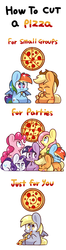 Size: 500x1900 | Tagged: safe, artist:php56, applejack, derpy hooves, fluttershy, pinkie pie, rainbow dash, rarity, twilight sparkle, pegasus, pony, chibi, comic, eating, female, food, mane six, mare, meat, parody, pepperoni, pepperoni pizza, pizza, this will end in colic