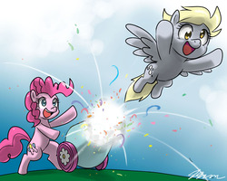 Size: 1000x800 | Tagged: safe, artist:johnjoseco, derpy hooves, pinkie pie, pegasus, pony, cannon, duo, female, mare, open mouth, party cannon, pony cannonball
