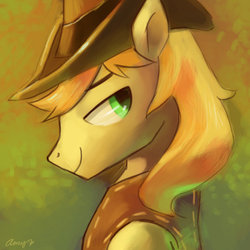Size: 600x600 | Tagged: safe, artist:amy30535, braeburn, bedroom eyes, braebetes, cute, looking at you, male, portrait, smiling, solo, stupid sexy braeburn