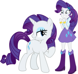 Size: 3544x3372 | Tagged: safe, artist:vector-brony, rarity, pony, equestria girls, boots, bracelet, clothes, high heel boots, human ponidox, jewel, jewelry, self ponidox, simple background, skirt, sparkles, square crossover, transparent background, vector