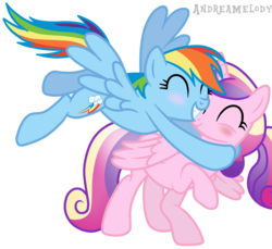 Size: 900x823 | Tagged: safe, artist:andreamelody, princess cadance, rainbow dash, age regression, blushing, cadash, female, hug, lesbian, shipping, simple background, transparent background, vector