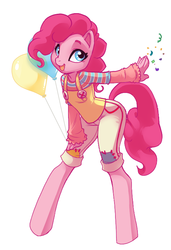 Size: 520x761 | Tagged: safe, artist:kamicheetah, pinkie pie, earth pony, anthro, unguligrade anthro, balloon, confetti, cute, diapinkes, example, female, happy, looking at you, open mouth, pocket confetti, simple background, solo, white background