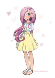 Size: 533x745 | Tagged: safe, artist:vasira, fluttershy, butterfly, human, blushing, clothes, cute, dress, feet, hair over one eye, heart, humanized, looking at you, sandals, shyabetes, smiling, solo