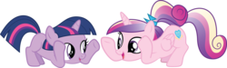 Size: 9694x2900 | Tagged: a canterlot wedding, artist:quanno3, filly cadance, ladybugs awake, princess cadance, safe, simple background, sunshine sunshine, transparent background, twilight sparkle, vector