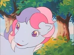 Size: 718x540 | Tagged: safe, screencap, sweet stuff, twinkle eyed pony, g1, my little pony 'n friends, sweet stuff and the treasure hunt, cute, female, smiling, solo, sweet sweet stuff