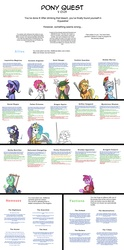 Size: 2432x4904 | Tagged: safe, applejack, berry punch, berryshine, derpy hooves, discord, fluttershy, gilda, lyra heartstrings, nightmare moon, pinkie pie, princess celestia, rainbow dash, rarity, spike, trixie, twilight sparkle, zecora, changeling, broquest, cyoa, mane six, pony quest, rarispy, rpg, text