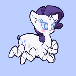 Size: 900x900 | Tagged: safe, artist:otterlore, rarity, drider, monster pony, original species, spider, spiderpony, :>, blush sticker, blushing, chibi, cute, fluffy, prone, simple background, smiling, solo, species swap, spiderponyrarity