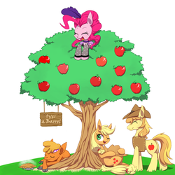 Size: 1250x1250 | Tagged: safe, artist:30clock, applejack, braeburn, little strongheart, pinkie pie, buffalo, over a barrel, apple, pie, pixiv, saloon dress, saloon pinkie, tree