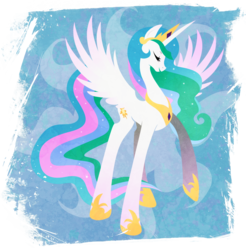Size: 901x916   Tagged: safe, artist:rariedash, part of a set, princess celestia, alicorn, pony, cutie mark, cutie mark background, eyes closed, female, hooves, horn, lineless, mare, solo, spread wings, wings