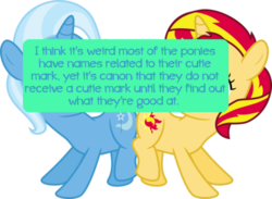 Size: 500x366 | Tagged: safe, sunset shimmer, trixie, pony, filly, filly sunset, filly trixie, pony confessions, text