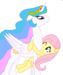 Size: 2665x3155 | Tagged: safe, artist:synch-anon, fluttershy, princess celestia, alicorn, pony, flutterlestia, high res, hug, momlestia, simple background, transparent background, vector